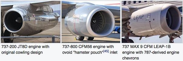 Drei Triebwerke verschiedener 737 Ausführungen im Vergleich